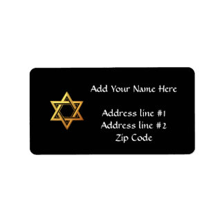 """3-D"" Golden Star of David Address Label"