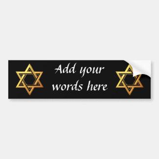 """""""3-D"""" Golden Star of David Bumper Sticker"""