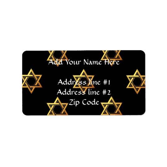 """3-D"" Golden Star of David Label"