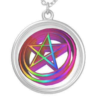 3-D Rainbow Pentacle Silver Plated Necklace