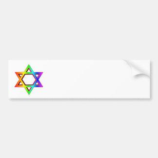 3-D Rainbow Star Of David Bumper Sticker