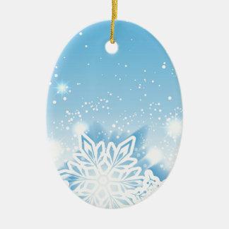 3-D snowflakes Ceramic Oval Decoration