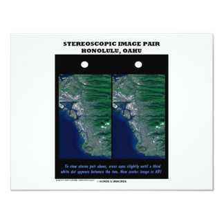 3-D Stereoscopic Image Pair Honolulu, Oahu 11 Cm X 14 Cm Invitation Card