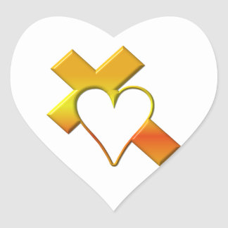 """3-D"" Yellow Cross with Heart Heart Sticker"