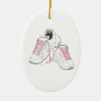 3 Day Walking Shoes Ceramic Oval Decoration