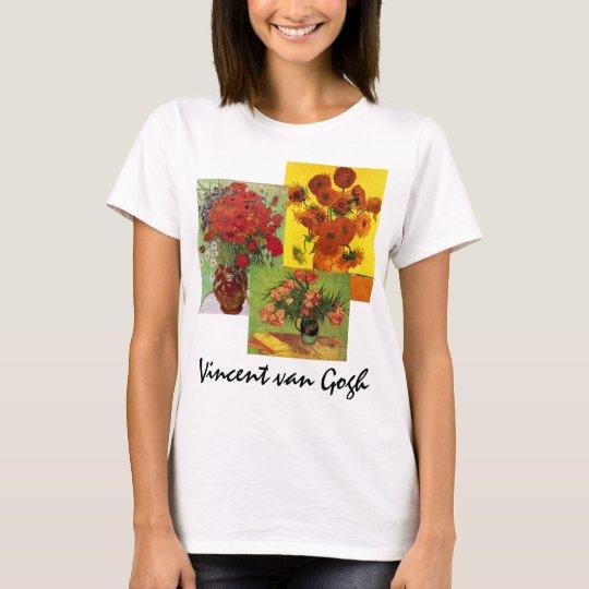 3 different van Gogh Vintage Floral Flowers Art T-Shirt