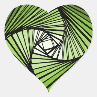3 dimensional spiral green heart sticker