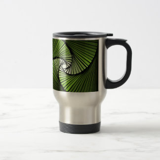 3 dimensional spiral green stainless steel travel mug