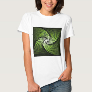 3 dimensional spiral green t-shirts