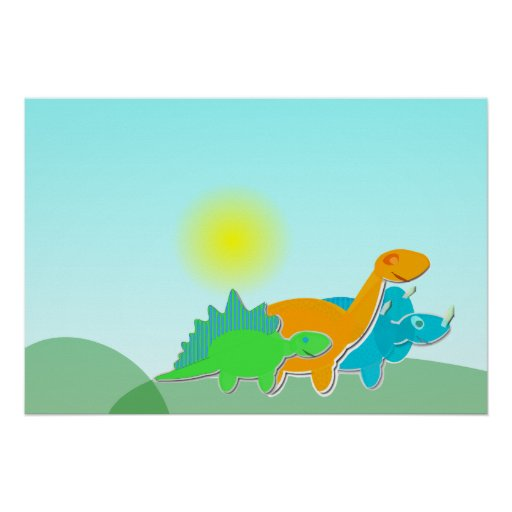 3 Dinosaur Friends Poster