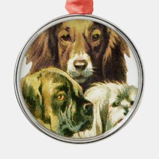 3 Dogs Portrait Silver-Colored Round Decoration