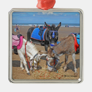 3 Donkeys Silver-Colored Square Decoration