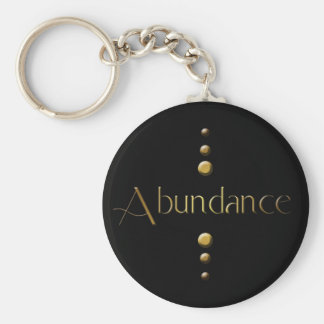 3 Dot Gold Block Abundance & Black Background Key Ring