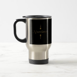 3 Dot Gold Block Abundance & Black Background Travel Mug