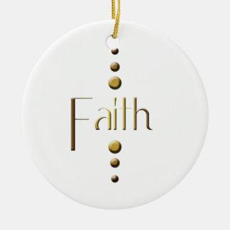 3 Dot Gold Block Faith Christmas Ornament