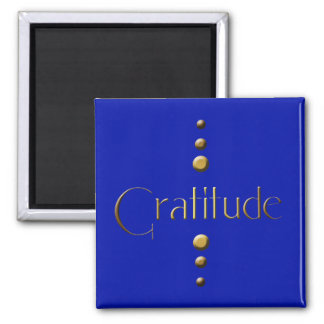 3 Dot Gold Block Gratitude & Blue Background Square Magnet