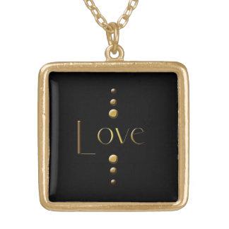 3 Dot Gold Block Love & Black Background Square Pendant Necklace