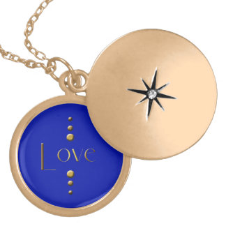 3 Dot Gold Block Love & Blue Background Personalized Necklace