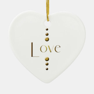 3 Dot Gold Block Love Christmas Ornament