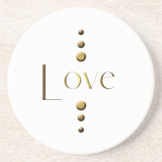 3 Dot Gold Block Love Coaster