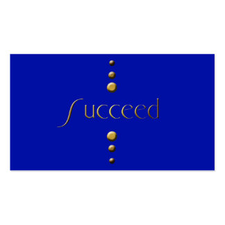 3 Dot Gold Block Succeed & Blue Background Pack Of Standard Business Cards