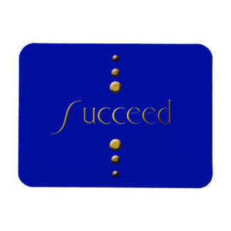 3 Dot Gold Block Succeed & Blue Background Rectangular Photo Magnet