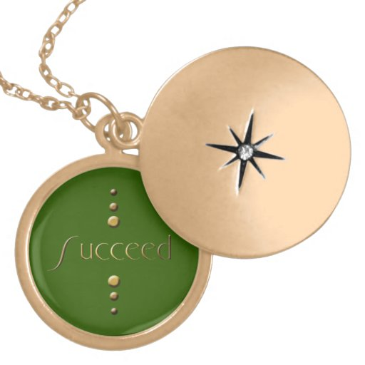 3 Dot Gold Block Succeed & Green Background Pendants