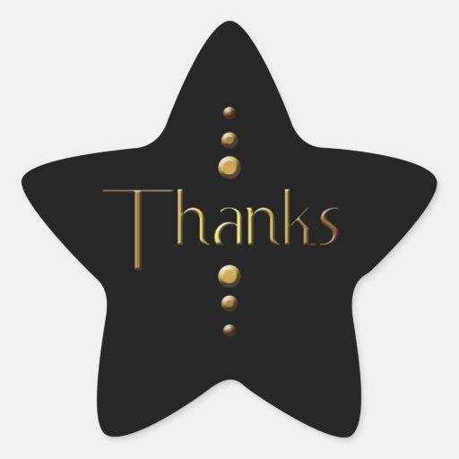 3 Dot Gold Block Thanks & Black Background Star Stickers