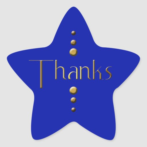 3 Dot Gold Block Thanks & Blue Background Star Stickers