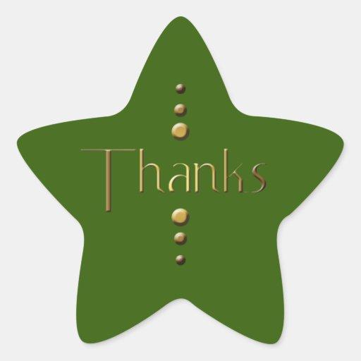 3 Dot Gold Block Thanks & Green Background Star Sticker