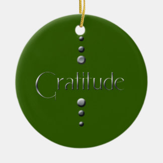3 Dot Silver Block Gratitude & Green Background Christmas Ornament