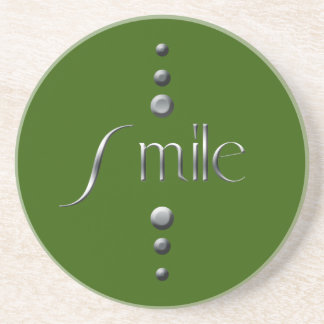 3 Dot Silver Block Smile & Green Background Coaster