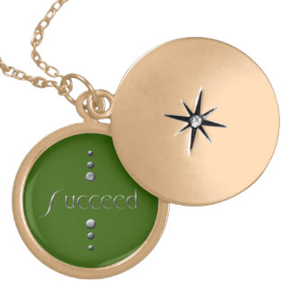 3 Dot Silver Block Succeed Green Background Custom Necklace