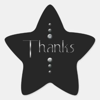 3 Dot Silver Block Thanks & Black Background Star Sticker