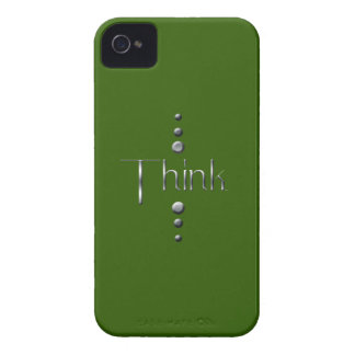 3 Dot Silver Block Think & Green Background Case-Mate iPhone 4 Cases