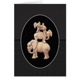 3 Elephants & 1 Duck Greeting Card