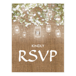 3 Entree Choice RSVP Baby's Breath Rustic Burlap Postcard