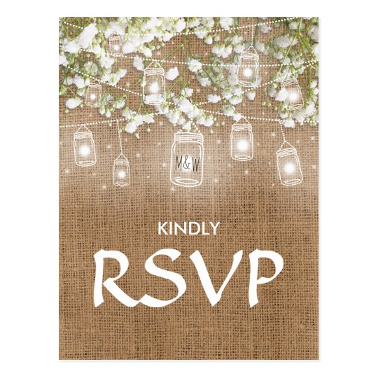 3 Entree Choice RSVP Baby's Breath Rustic Burlap