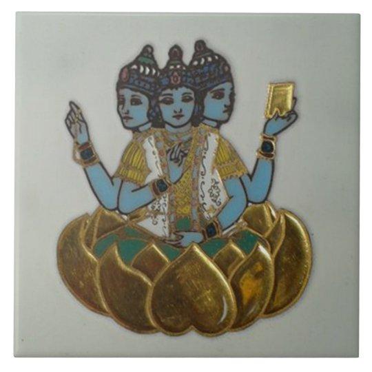 3 Faces Shiva Large Square Tile