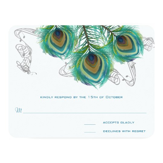 3 Feathers Peacock Birds Dark Wedding Response Card
