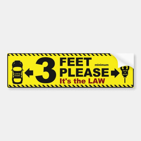 3 feet please bicycle passing safety bumper sticke