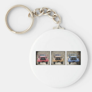 3 Fire Truck Basic Round Button Key Ring