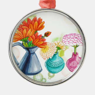 3 Flower Pots Water Colour Drawing Christmas Ornament