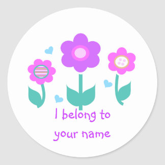 3 flowers classic round sticker