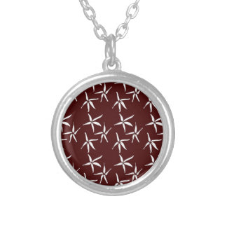 3 flowers -white silver plated necklace