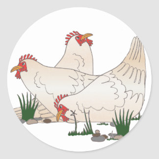 3 French Hens Classic Round Sticker