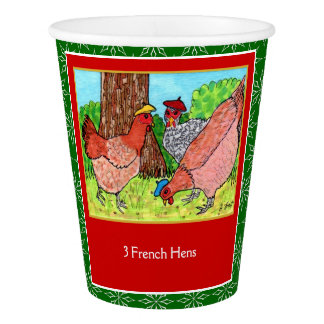 3 French Hens Cute Animals 12 Days of Christmas Paper Cup