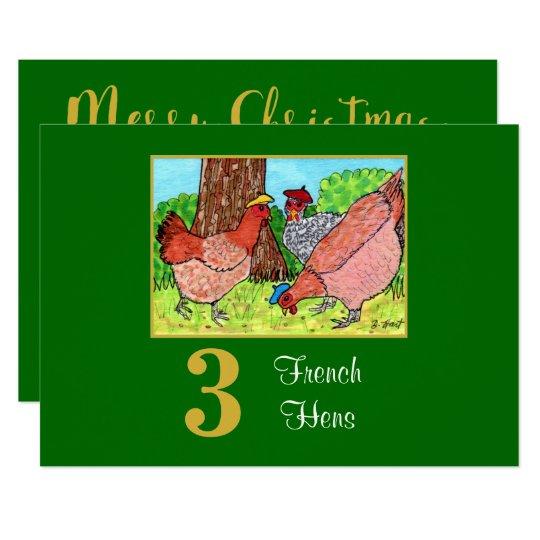 3 French Hens Cute Birds Custom Christmas Card