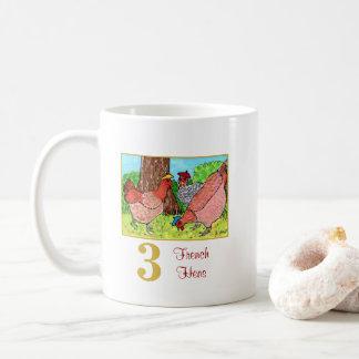 3 French Hens Cute Birds & Typography Coffee Mug
