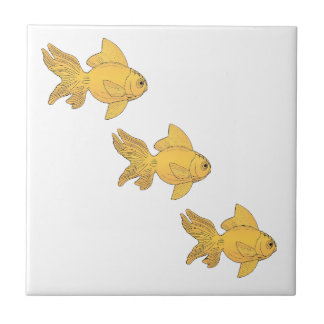 3 Gold Fish Swimming Simple Pattern - revised Small Square Tile
